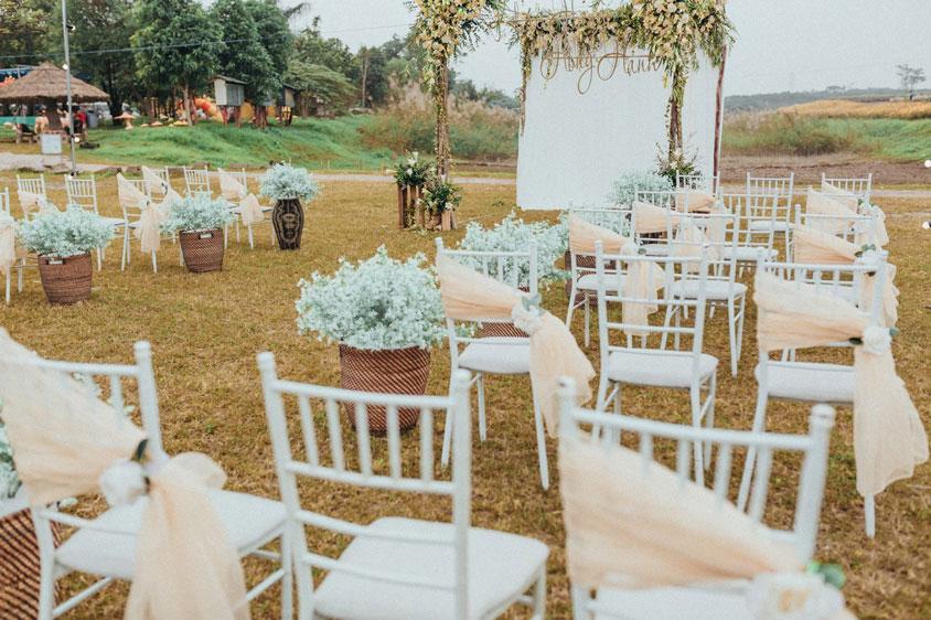 Không gian tiệc cưới ngoài trời tại Trống Đồng Sông Hồng