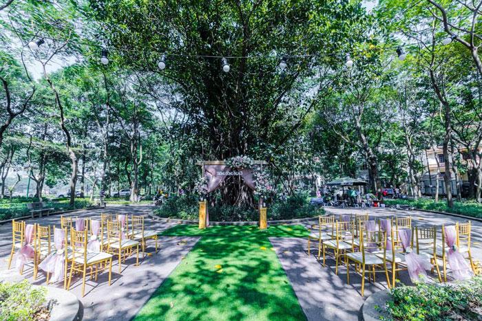 Không gian xanh tổ chức tiệc cưới ngoài trời tại trống đồng sông hồng hà nội